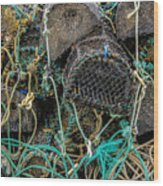 Stacked Crab Traps Wood Print