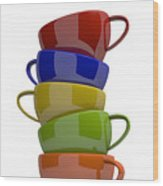 Stacked Cups Wood Print