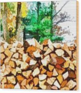 Stacked Fire Wood In Preparation For Winter 1 Wood Print