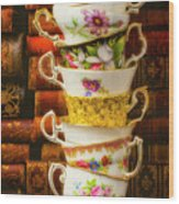 Stacked High Tea Cups Wood Print