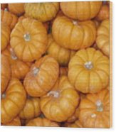 Stacked Mini Pumpkins Wood Print
