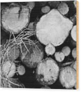 Stacked Wood Logs In Black And White Wood Print