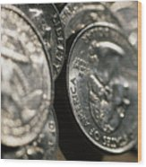 Stacks Of Quarters Stand Askew Wood Print by Stephen Alvarez