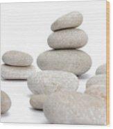 Stacks Of Smooth Pebble Stones Wood Print