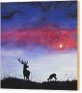 Stag And Deer In Moonlight Wood Print
