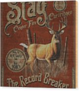 Stag Record Breaker Sign Wood Print