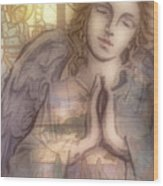 Stain Glass Angel Wood Print