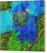 Stained Glass Blue Poppy One Wood Print