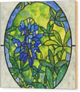 Stained Glass Bluebonnet Wood Print