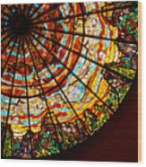 Stained Glass Ceiling Wood Print