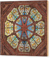 Stained Glass Ceiling Window Wood Print