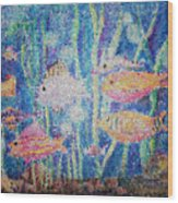 Stained Glass Fish Wood Print