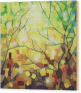 Stained Glass Forest Wood Print