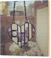 Stained Glass Heart Wood Print
