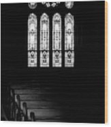 Stained Glass In Black And White Wood Print