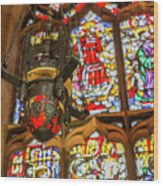 Stained Glass Lantern And Window Wood Print