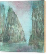 Stained Glass Mountain Temple Wood Print