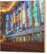 Stained Glass Of St Josephs, Hartford Wood Print