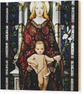 Stained Glass Of Virgin Mary Wood Print