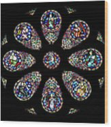 Stained Glass Rose Window In Lisbon Cathedral Wood Print
