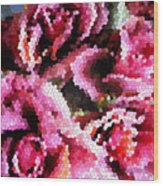 Stained Glass Roses 2 Wood Print