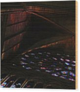 Stained Glass Sunset Notre Dame Paris Wood Print