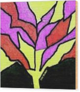 Tree - Stained Glass Watercolor Wood Print