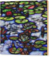 Stained Glass Water Lilies Wood Print
