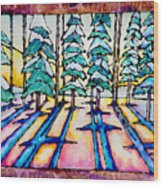 Stained Glass Watercolor Winter Pine Trees Wood Print