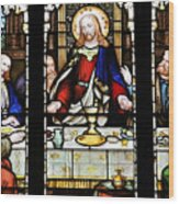 Stained Glass Window Last Supper Saint Giles Cathedral Edinburgh Scotland Wood Print