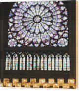 Stained Glass Window Of Notre Dame De Paris. France Wood Print