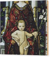 Stained Glass Window Of The Madonna And Child Wood Print