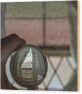 Stained Glass Window With Curtains In Crystal Ball Wood Print
