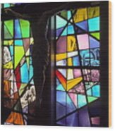 Stained Glass With Crucifix Silhouette Wood Print