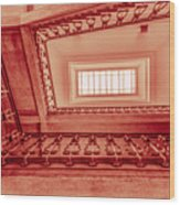 Staircase In Red Wood Print