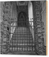 Stairs Beyond B-w Wood Print