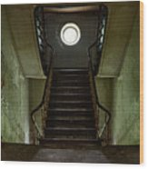 Stairs Toward The Attic - Abandoned House Wood Print