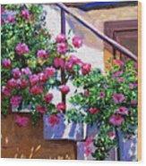 Stairway Floral Plein Air Wood Print