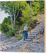 Stairway From Lake Superior Beach To Au Sable Lighthouse In Pictured Rocks National Lakeshore-michig Wood Print