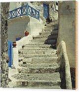 Stairway In Santorini Wood Print