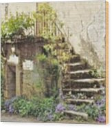 Stairway With Flowers Flavigny France Wood Print