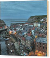 Staithes Evening Wood Print