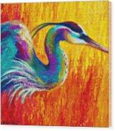 Stalking The Marsh - Great Blue Heron Wood Print