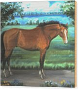 Stallion Portrait Wood Print