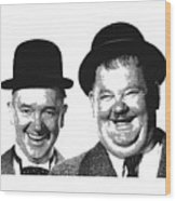 Stan And Ollie - Parallel Hatching Wood Print