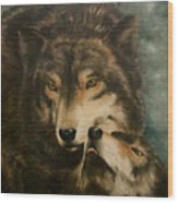 Stand By Me - Wolves Wood Print