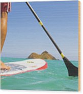 Stand Up Paddling Wood Print