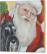 Standard Schnauzer And Santa Wood Print