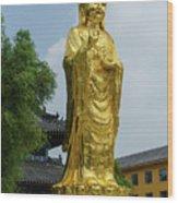 Standing Budda At Mi Tuo Shi Wood Print