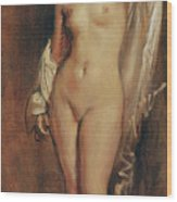 Standing Female Nude Wood Print by Theodore Chasseriau